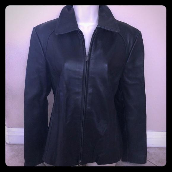 Nine West Soft Black Fitted Leather Jacket L